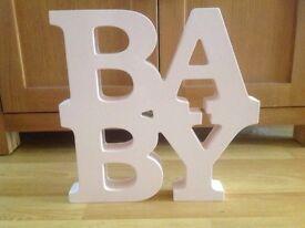 Baby girl nursery decoration 'baby' sign