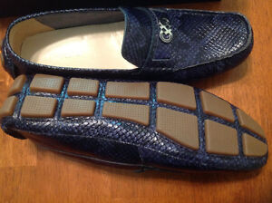 New COLE HAAN Leather Blue Moccasins Loafers Shoes sz 10.5-11
