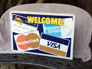 Vintage 2 sided WELCOME SUNOCO credit card advertising sign !