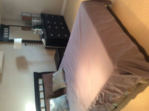 Bed, dresser, tv, mattress, drawers, lamps, stereo