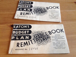 1941 EATON'S BUDGET PLAN REMITTANCE BOOKS