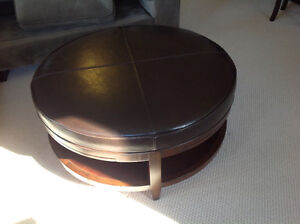 Solid wood and leather ottoman