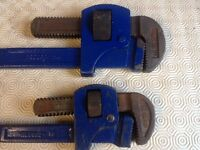 PAIR OF RECORD PIPE WRENCH STILLSONS SIZE 24 inch & 18 inch.