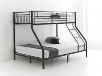 BRAND NEW MODERN DESIGN TRIO TRIPLE BUNK BED 100% STRONG WITH CHOICE OF MATTRESSES-DOUBLE/SINGLE
