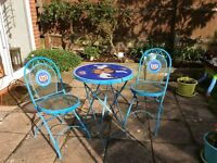 Butterfly outdoor metal table with two matching metal chairs