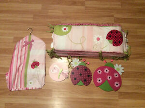 Girls Lambs and Ivy Lady Bug Crib bedding/room set 14 pieces