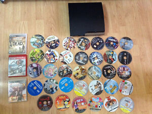 PS3 with all cables and almost 40 Original Games CDs
