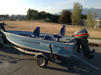 14' Princecraft Aluminum Boat with 20HP Outboard & EZ Loader