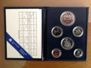 1983 Royal Canadian Mint Proof 6 coin set in case.