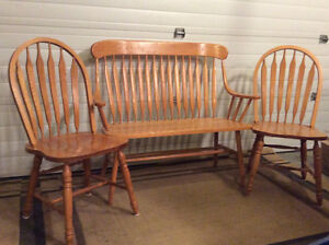 Oak Bench and Arrowback Chairs