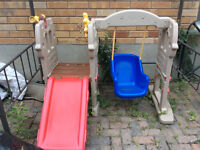 Toddler slide and climber with swing