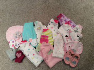 Baby Girl Sleepers and Accessories 3-6 months