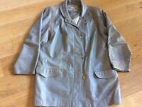 Fab vintage grey leather coat, 3/4 jacket, grey, size 10 - 14 real leather