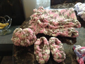 Hand made baby blankets, bunting bag, booties and hats