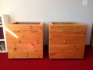 Large wood boxes on casters