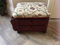 Wood & Tapestry Footstool