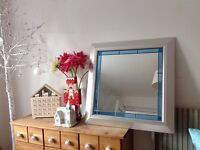"""Silver frame mirror with blue glass detailing 31"""" x 31"""""""