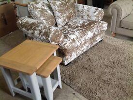 Loveseat Large Snuggler Cuddle Arm Chair Crushed Bling Velvet