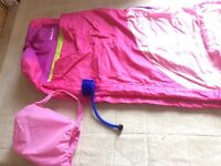 "Girls ""ready"" bed, blow up bed with integral cover. VGC"