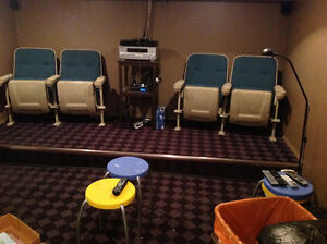 Movie theater chairs / seating, metal back, folding