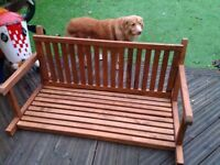 Hardwood swing seat without frame