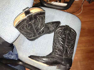 Ladies black leather cowboy boots for sale