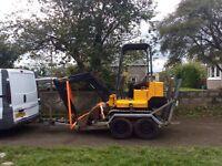 Jcb 1.5 mini digger and twin axle plant trailer