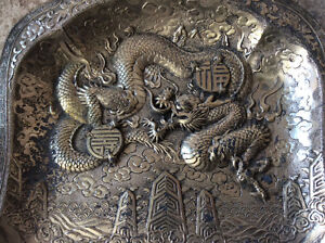 Antique Japan dragon metal art tray two pcs signed numbered $40 Windsor Region Ontario image 1