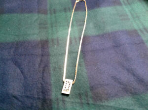 14k gold chain with custom 14k bezel Initial D set with sapphire