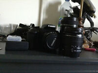 CANON EOS RAEBEL T5 with 3 lenses and a 8GB memory card