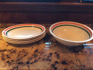 Pasta bowl and four plates