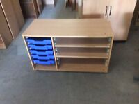 Beech storage cupboard with 5 blue trays