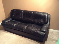Black leather couch, love seat and chair