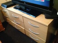 Light Pine Wooden Chest of Drawers Bedroom Units x 3