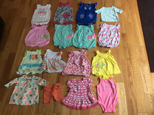 Summer Rompers, dress,shirts 16pieces girl 0-3months