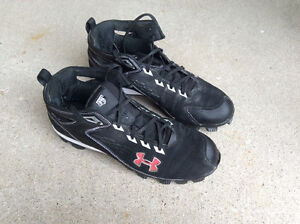 Cleats and glove, hardly used UnderArmour