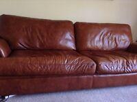Brown leather sofa, seats 4