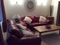 DFS REAL LEATHER 3+2 SOFAS AS NEW CAN DELIVER FREE