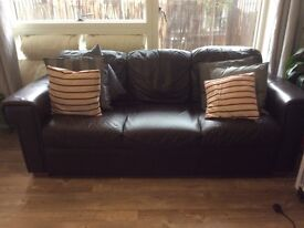 100% Real Leather Sofa - 3 Seater Chocolate Brown - sale asap