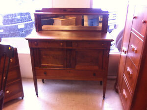 Buffet, vanity, stained glass, grandfathers clock and more