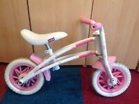 Girls Townsend duo balance bike / cycle - 2 in 1 design - pink / white