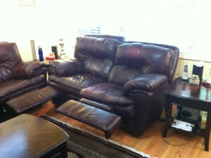 Leather Sofa,Love Seat, Centre & 2 side tables