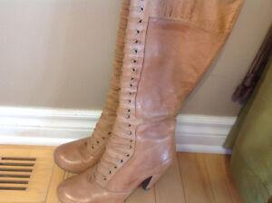Leather tan boots brand Miz Mooz