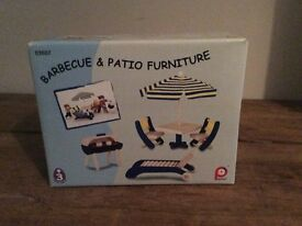Barbecue and patio wooden doll furniture