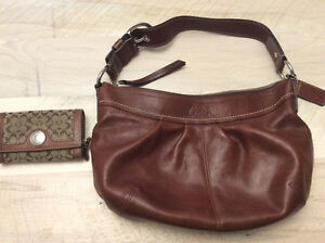 Coach leather bag and matching wallet