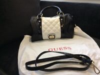 Guess black and white handbag great condition