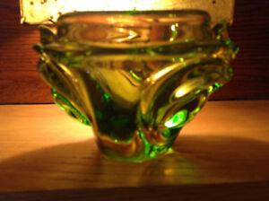 VERRE SOUFFLÉ CHALET VINTAGE GREEN RETRO GLASS ART