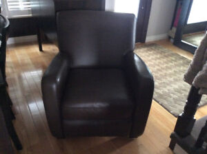 Leather by man brown leather swivel club chair