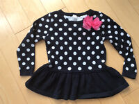 Black and white polka dot sweater size 2
