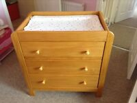 Nursery cot bed, wardrobe, drawers with changer